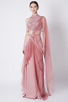 Dusty Pink Embroidered Saree Set by Supria Munjal