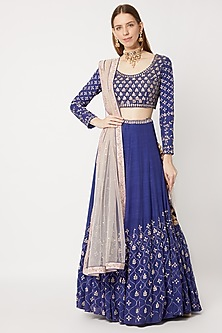 Cobalt Blue Embroidered Lehenga Set by Sumayah