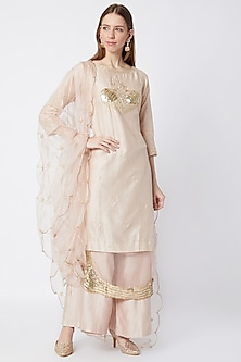 Blush Pink Embroidered Kurta Palazzo Set by Sumayah