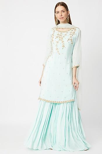 Sky Blue Embroidered Sharara Set by Sumayah