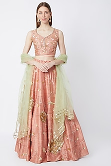 Peach Embroidered Lehenga Set With Sage Green Dupatta by Sumayah