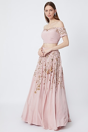 Pink Off Shoulder Embroidered Blouse With Lehenga Skirt by Sumayah