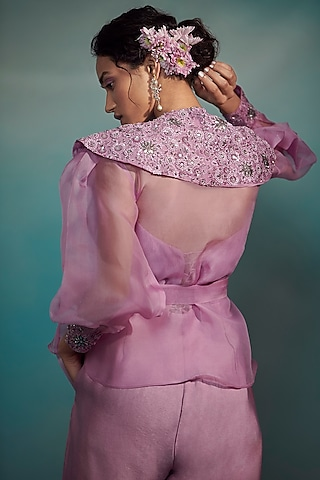 Lilac Maheshwari Silk Jumpsuit by Suhino