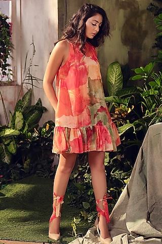 Orange Ruffled Dress by Suruchi Parakh