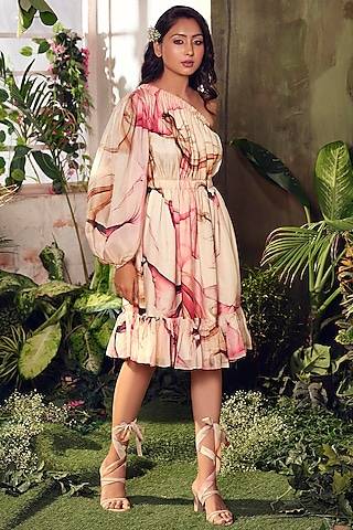 Cream One Shoulder Flared Dress by Suruchi Parakh