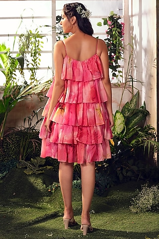 Pink Habutai Silk Tiered Dress by Suruchi Parakh