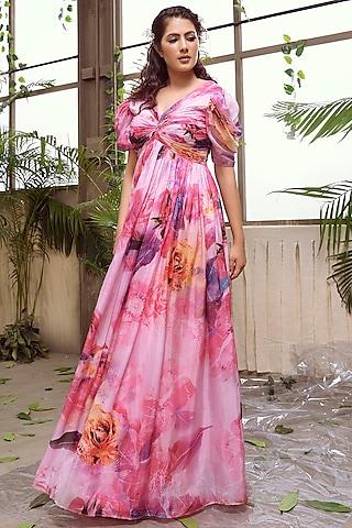 Pink Flared Habutai Silk Dress by Suruchi Parakh