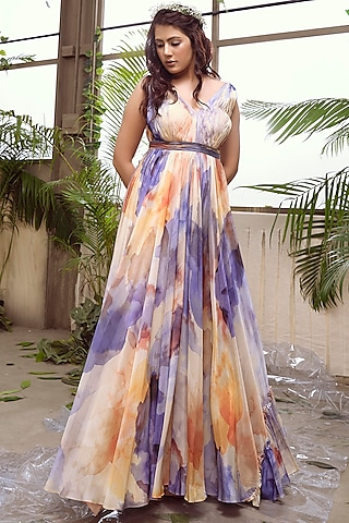 Lilac & Yellow Flared Gown by Suruchi Parakh