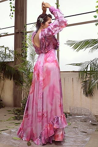 Pink And Lavender Habutai Silk Flared Gown by Suruchi Parakh
