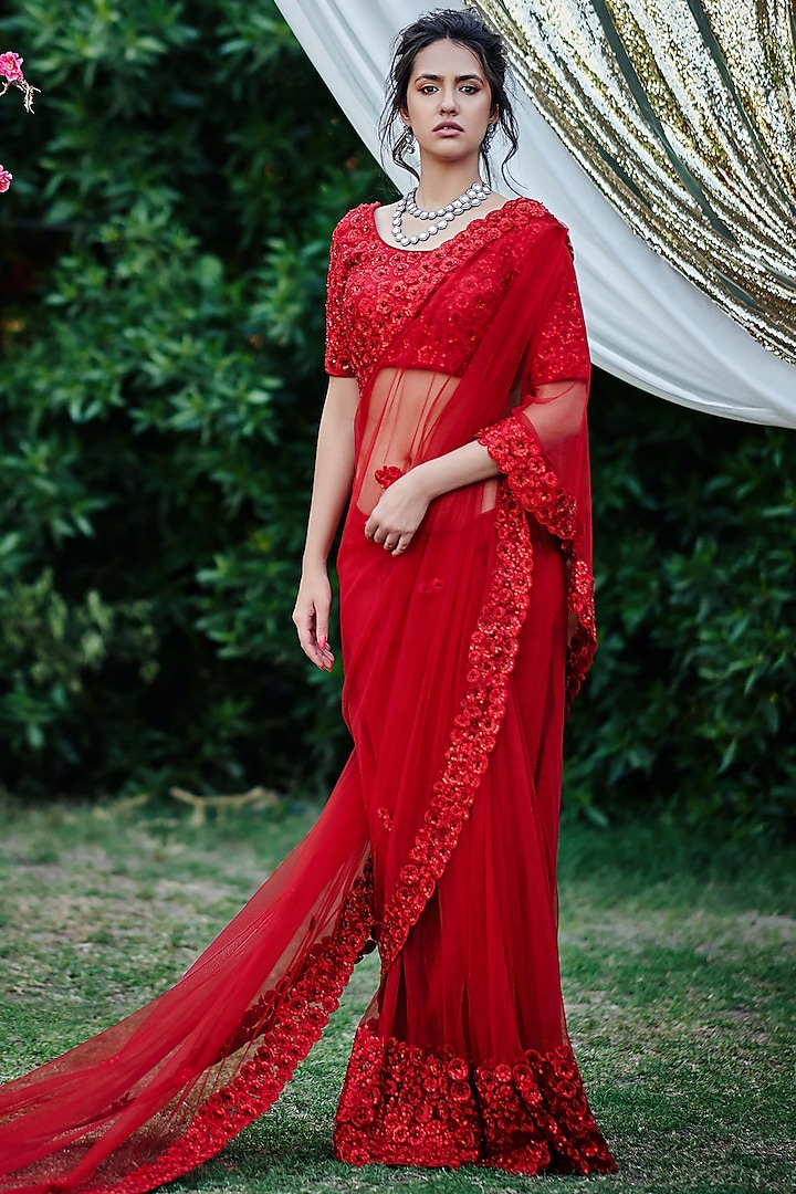 Red Saree Set With Floral Motifs by Suruchi Parakh