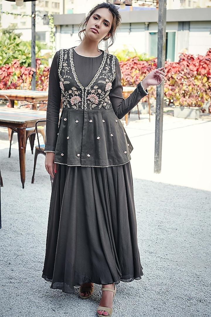 Khaki-Colored Flared Anarkali With Jacket by Suruchi Parakh