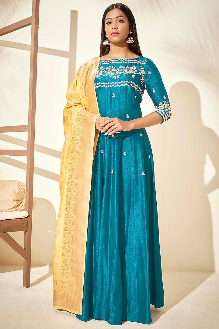 Teal Blue Handcrafted Anarkali Set by Suruchi Parakh