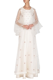 Off White Embroidered Anarkali Gown & Jacket by Surabhi Arya