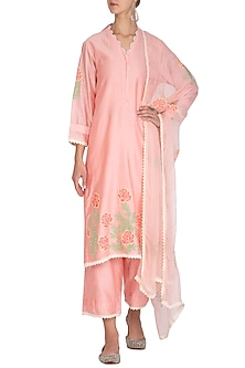 Peach Embellished Kurta Set by Surabhi Arya