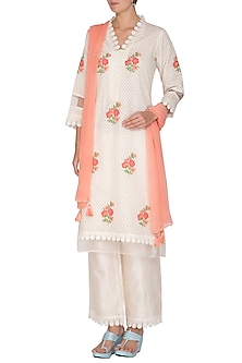 Off White Self Printed Kurta Set by Surabhi Arya