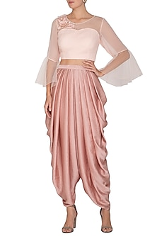 Light Peach Embroidered Crop Top With Dhoti Pants by Surabhi Arya