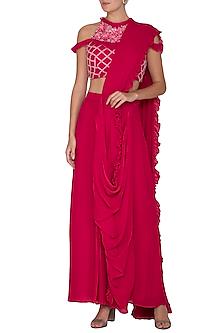 Red Embroidered Pre-Draped Saree Set by Surabhi Arya