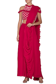 Red Embroidered Pre-Draped Saree Set by Surabhi Arya