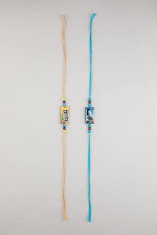 Blue & Yellow M&M Kids Rakhis (Set of 2) by Surabhi Arya