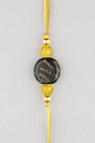 Yellow Thread & Stone Rakhis (Set of 2) by Surabhi Arya