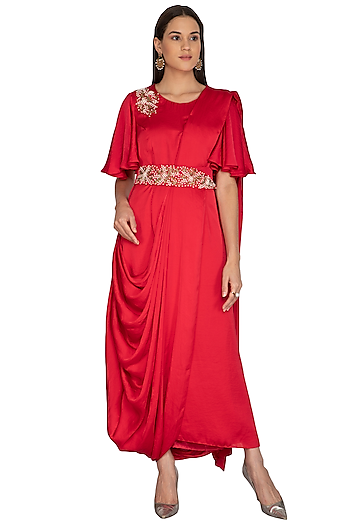 Red Embroidered Saree Gown With Belt by Surabhi Arya