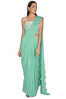 Sea Green Embroidered Draped Saree Set by Surabhi Arya