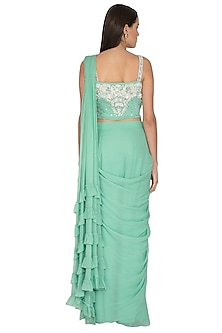Sea Green Embroidered Draped Saree Set by Surabhi Arya