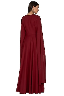 Maroon Embroidered Gown by Surabhi Arya