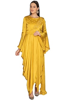 Mustard Embroidered Drape Dress With Churidar Pants by Surabhi Arya