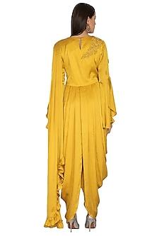 Mustard Embroidered Drape Dress With Churidar Pants by Surabhi Arya