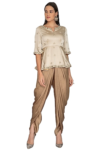 Beige Embroidered Peplum Top With Dhoti Pants by Surabhi Arya