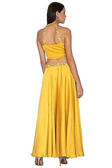 Mustard Halter Neck Crop Top With Skirt by Surabhi Arya