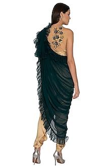Beige Embroidered Crop Top With Dhoti Pants & Sash by Surabhi Arya