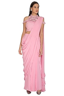 Baby Pink Embroidered Draped Saree Set by Surabhi Arya