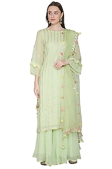 Mint Green Embroidered Sharara Set by Surabhi Arya
