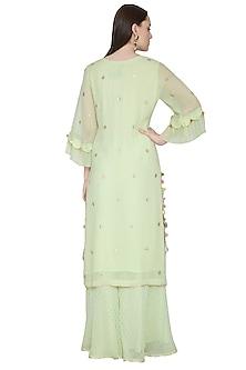 Mint Green Embroidered Sharara Set by Surabhi Arya