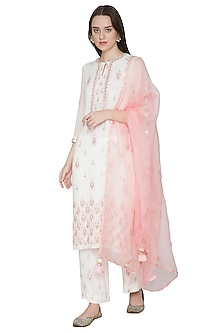 White & Light Peach Embroidered Kurta Set by Surabhi Arya