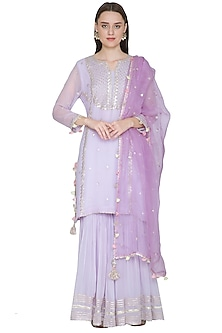 Lavender Embroidered Gharara Set by Surabhi Arya