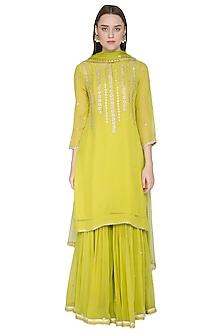 Light Green Embroidered Gharara Set by Surabhi Arya
