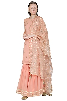 Peach Embroidered Gharara Set by Surabhi Arya