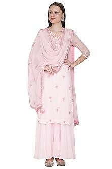 Baby Pink Embroidered Sharara Set by Surabhi Arya