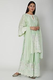 Mint Green Floral Embroidered Kurta Set by Surabhi Arya