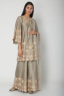 Stone Grey Floral Embroidered Kurta Set by Surabhi Arya