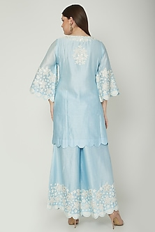 Light Blue Embroidered Kurta Set by Surabhi Arya