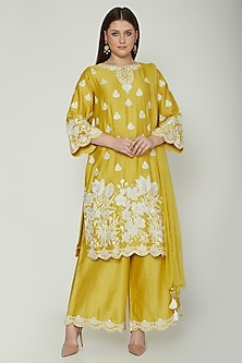 Mustard Yellow Embroidered Kurta Set by Surabhi Arya