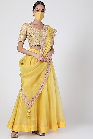 Yellow Hand Embroidered Lehenga Set by SURBHI SHAH
