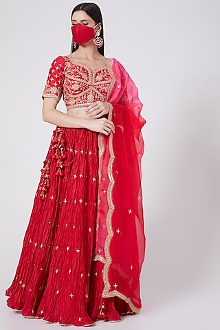 Red Hand Embroidered Lehenga Set by SURBHI SHAH