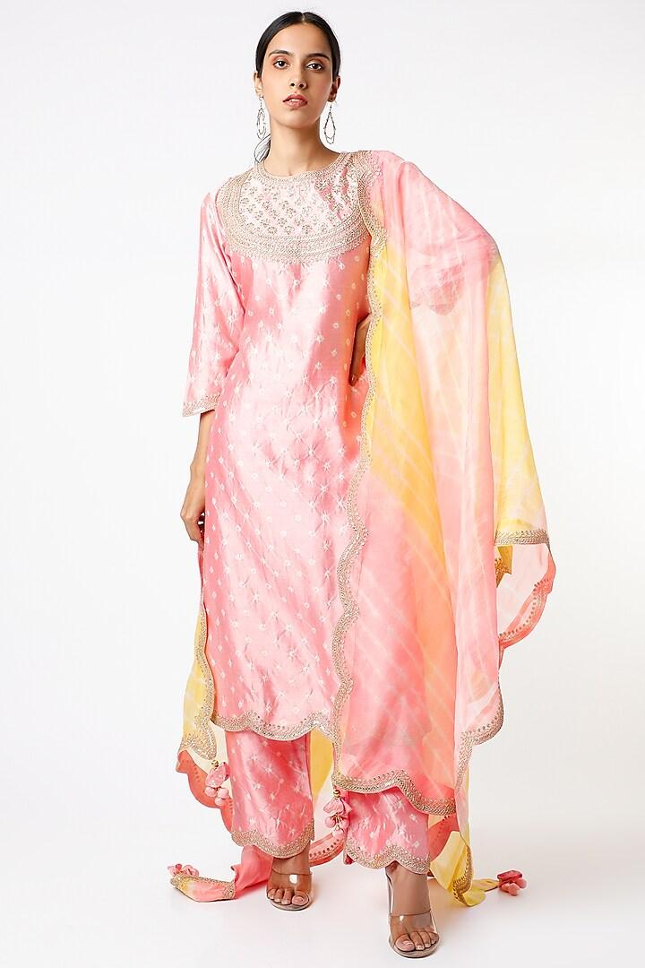 Pink Bandhani Printed Kurta Set by SURBHI SHAH