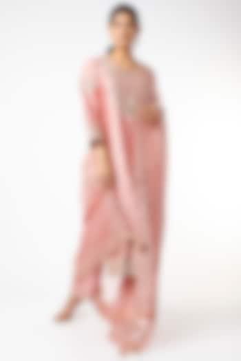 Rose Gold Hand Embroidered Kurta Set by SURBHI SHAH