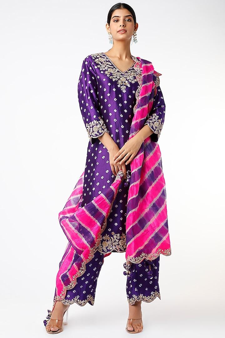 Purple Hand Embroidered Bandhej Kurta Set by SURBHI SHAH